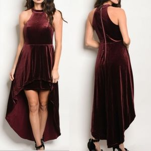 HOLLY Burgundy Velvet dress